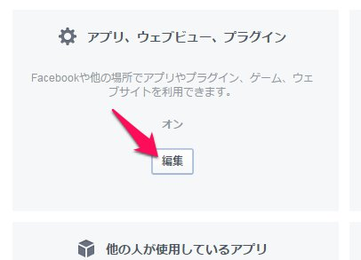 Facebookアプリ設定